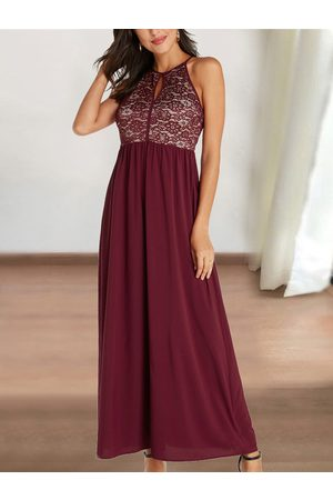 YOINS Lace Insert Halter Sleeveless Dress