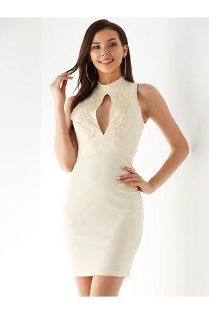 YOINS Apricot Backless Design Stand Collar Sleeveless Dress