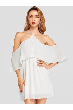 YOINS Halter Off Shoulder Overlay Dress with Lining