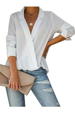 YOINS Button Design Notch Collar Long Sleeves Blouse