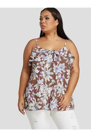 YOINS Plus Size Ruffle Trim Floral Print Square Neck Cami