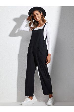 YOINS Black Pocket Design Sleeveless Jumpsuit