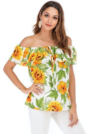 YOINS Sunflower Print Off The Shoulder Ruffle Trim Blouse