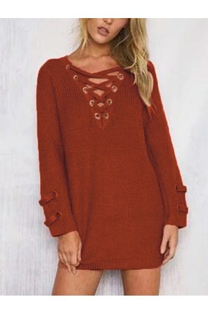 YOINS Rust Lace-up Design Round Neck Sweater