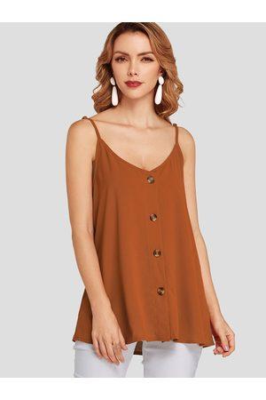 YOINS Front Button V-neck Sleeveless Cami