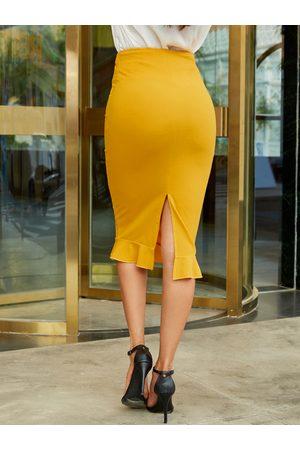 YOINS Slit Design Elegant Knit Skirt