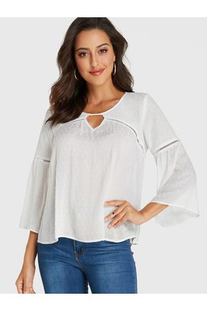 YOINS Patchwork Round Neck Bell Sleeves Blouse