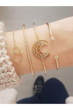YOINS Retro Fashion Hollow Moon Diamond Four-piece Bracelet Set