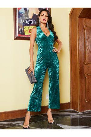 YOINS Green Backless Design Velvet Sleeveless Jumpsuit