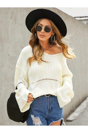 YOINS Beige Hollow Design V-neck Long Sleeves Sweater
