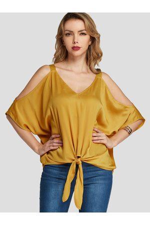 YOINS Women Blouses - Cold Shoulder Bat Sleeves Self-tie Design Blouse