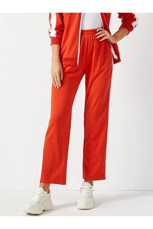 YOINS Orange Side Pockets Patch Stripe Stretch Waistband Pants
