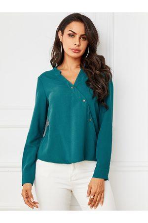 YOINS Green Button Design V-neck Blouse