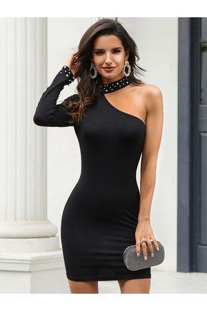 YOINS Black Handmade Beaded Details One Shoulder Dress