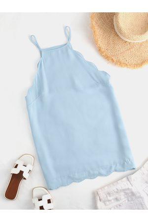 YOINS Women Halterneck Tops - Light Blue Wavy Hem Design Halter Cami