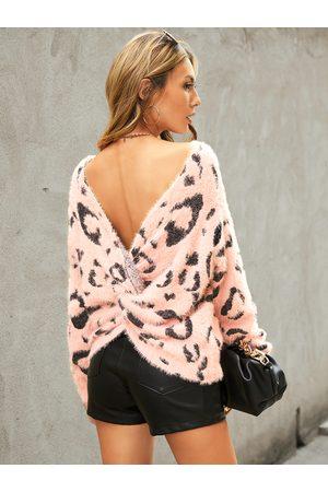 YOINS Women Long Sleeve - Pink Leopard Twist Backless Round Neck Long Sleeves Sweater