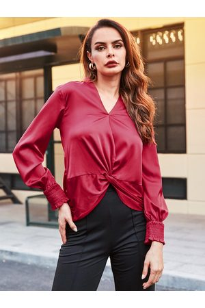 YOINS Burgundy Pleated Design long Sleeves Blouse