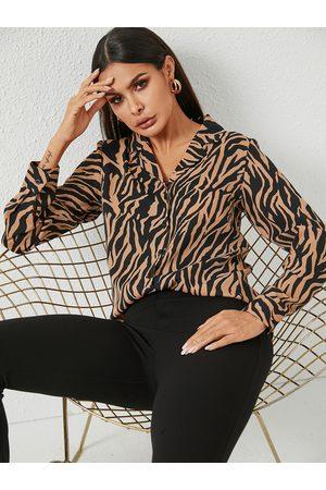 YOINS Khaki Button Design Zebra Stripe Blouse