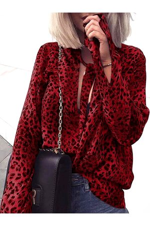 YOINS Burgundy Tie-up Neck Leopard Blouse