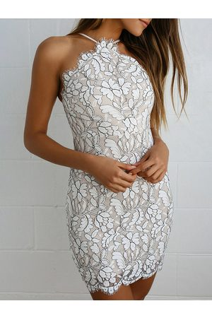 YOINS Lace Floral Halter Sleeveless Dress