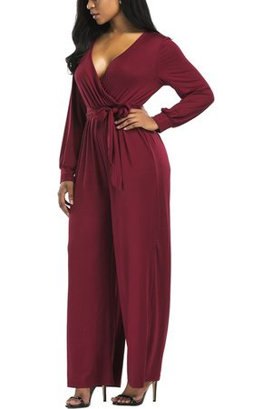 YOINS Burgundy Wrap Design Long Sleeves Jumpsuit