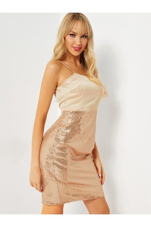 YOINS Apricot Spaghetti Straps Sequins Embellished Dress