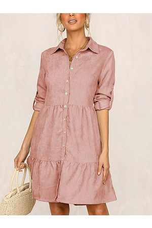 YOINS Front Button Ruffle Trim Lapel Collar Long Sleeves Shirt Dress