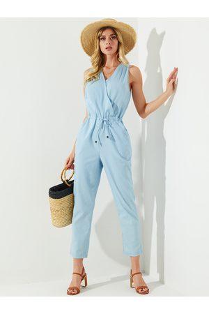 YOINS Blue Wrap Design Side Pockets Sleeveless Drawstring Waist Jumpsuit