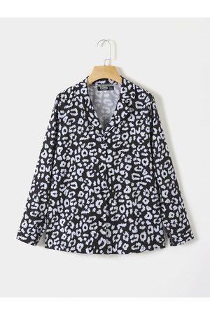 YOINS Women Blouses - Black Print Button Design Lapel Collar Long Sleeves Blouse