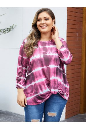 YOINS Women Long Sleeve - Plus Size Multicolor Twisted Round Neck Tee