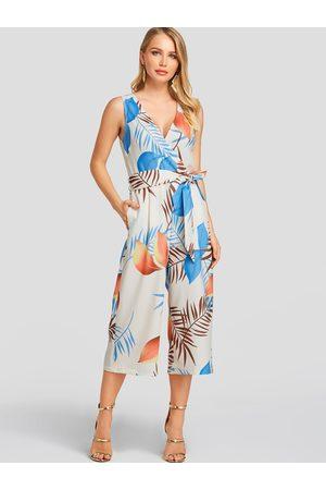YOINS Leaf Print Wrap Design Sleeveless Jumpsuit