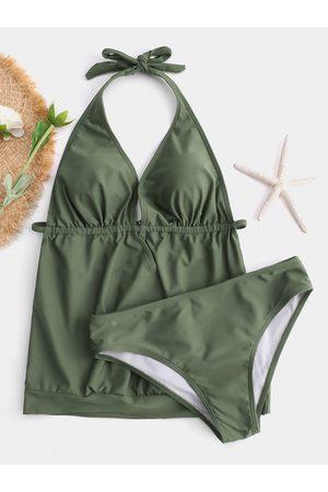 YOINS Cross Front Halter V-neck Sexy Tankini Swimsuit