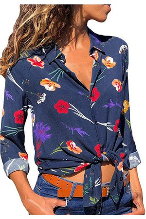 YOINS Front Button Random Floral Print Lapel Collar Long Sleeves Blouse