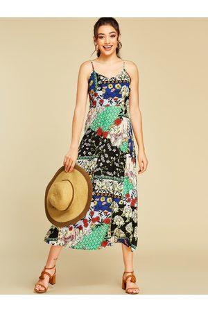 YOINS Multi Spaghetti Strap Floral Print V-neck Sleeveless Dress