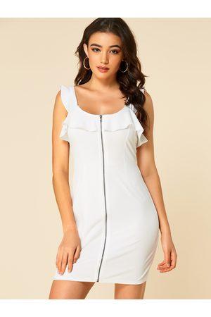 YOINS Zip Front Flounce Details Bodycon Dress