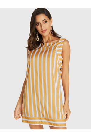 YOINS Stripe Square Neck Button Design Sleeveless Dress