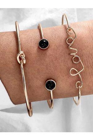 "YOINS Gold Knotted ""Love"" Shape Three-piece Bracelet Set"