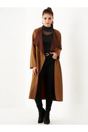 YOINS Suede Lapel Collar Belt Design Trench Coat