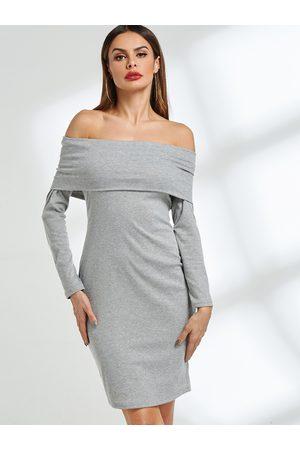 YOINS Off The Shoulder Bodycon Midi Dress