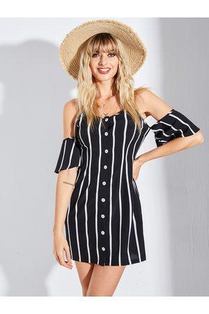 YOINS Black Striped Front Button Cold Shoulder Spaghetti Strap Dress