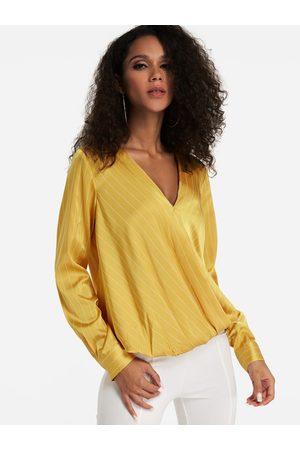 YOINS Crossed Front Design V-neck Long Sleeves Blouse