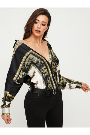 YOINS Black Scarf Print Classic Collar Long Sleeves Blouse