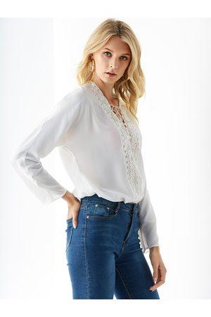 YOINS Women Blouses - Crochet Lace V-neck Lace-up Design Blouse
