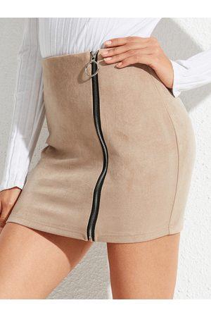 YOINS Khaki Zip Design High-Waisted Mini Suede Skirt