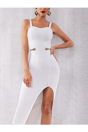 YOINS Backless Button Design With Slit Hem Spaghetti Strap Dress