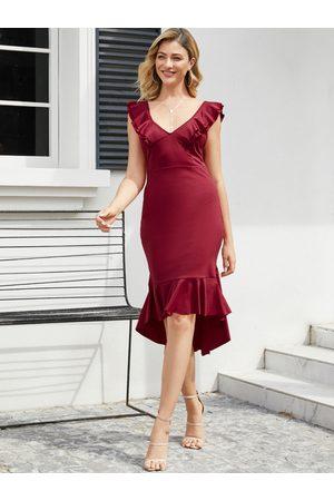 YOINS Backless Design Ruffle Trim Sleeveless Dress