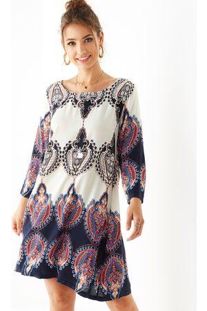 YOINS Tribal Print Round Neck Long Sleeves Dress