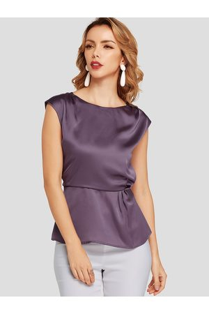 YOINS Pleated Round Neck Cap Sleeves Stretch Waistband Tee