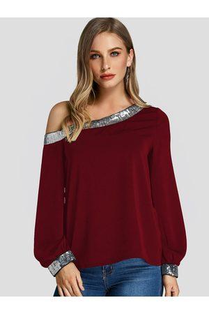 YOINS Sequins Embellished One Shoulder Blouse