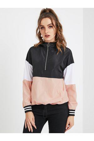 YOINS Hooded Design Color Block Sweatshirt